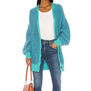 NWT Free People snow drop cardigan S teal